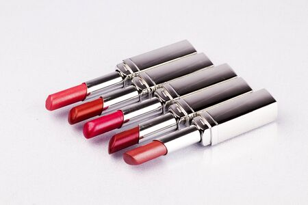 Close up of lipstick on a white background. photo