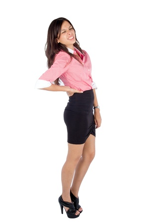 backache: Young woman with back pain, isolated on white background.