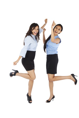 Young business women celebrating Stock Photo