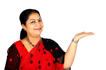 Indian woman presenting.