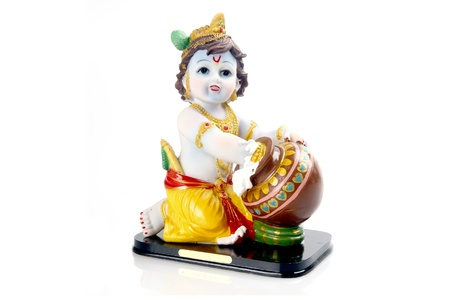 Hindu God Krishna over a white background photo