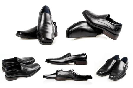 A collage of six pictures of black men shoes on a white background. Stock Photo - 12080083
