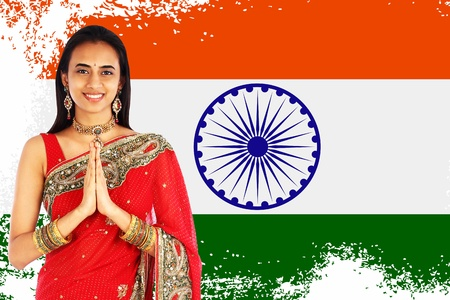 namaste: Young Indian woman