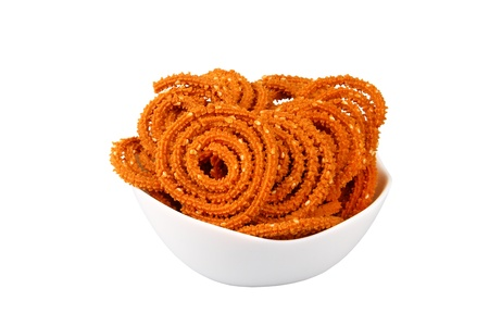 murkoo: Traditional indian snack - chakali, isolated on white
