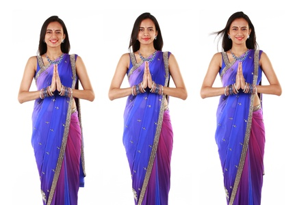 namaste: Indian woman in traditional clothing  Stock Photo