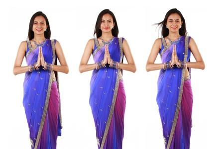 namaste: Mujer india en la ropa tradicional