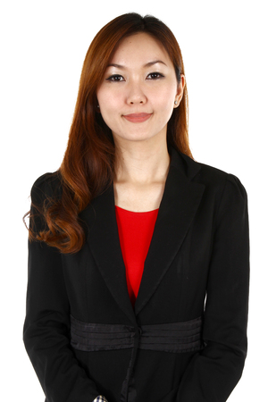 Portrait of a young business woman with a smile, on a white background photo