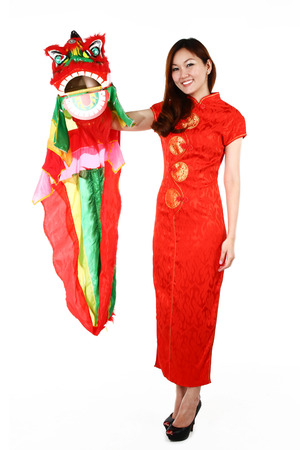 qipao: Portrait of young Chinese woman in traditional red Cheongsam, isolated on white background