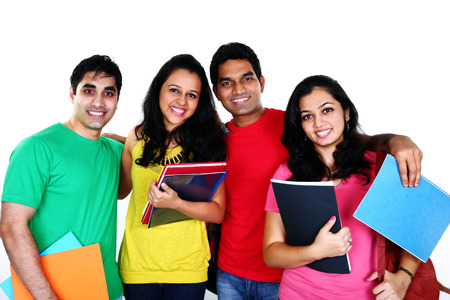 indian student: Group of smiling friends, isolated on white background