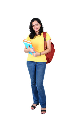 Portrait of young Indian student, isolated on white background Stock Photo