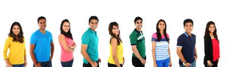 estudiantes universitarios: Feliz sonriente colecci�n collage retrato de joven indio  asi�tico grupo de personas Foto de archivo