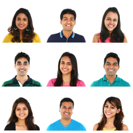 Collage of young Indian/Asian men and women portraits, isolated on white background.