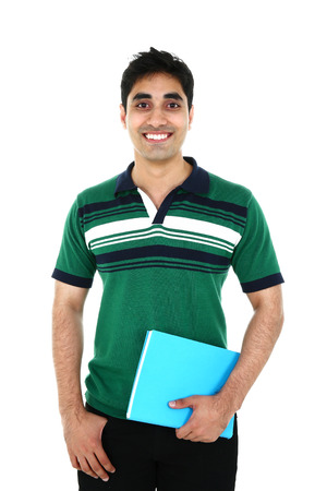 Portrait of Asian student, isolated on white background.