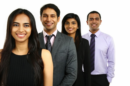 Asian Indian businessmen and businesswoman in group standing in a row isolated on white. Teamwork concept.