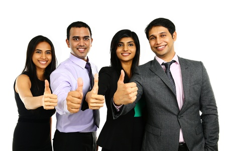 positivity: Asian Indian businessmen and businesswoman in group with thumbs up isolated on white. Successful Teamwork concept.