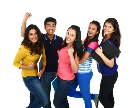 students fun: Happy smiling portrait of Young IndianAsian group of people looking at camera, smiling and celebrating. Isolated on white background. Stock Photo