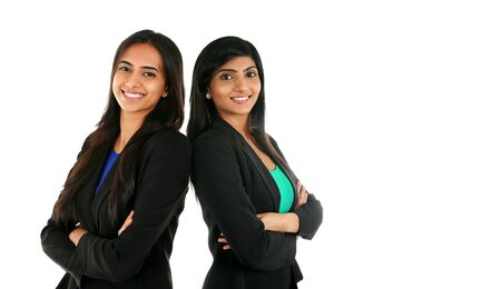 Asian Indian businesswoman in group standing with folded hands isolated on white with copyspace. Successful Teamwork concept.