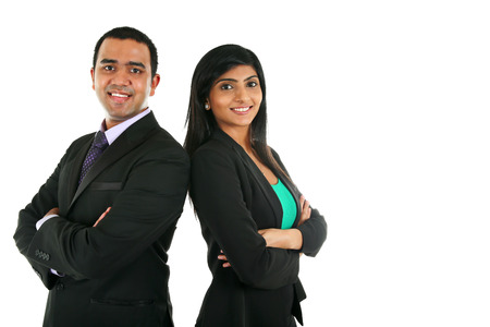 indian professional: Asian Indian businessman and businesswoman in group standing with folded hands isolated on white with copyspace. Successful Teamwork concept.