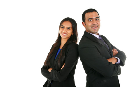 Asian Indian businessman and businesswoman in group standing with folded hands isolated on white with copyspace. Successful Teamwork concept.
