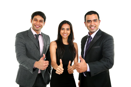Asian Indian businessmen and businesswoman in group with thumbs up isolated on white. Successful Teamwork concept. photo
