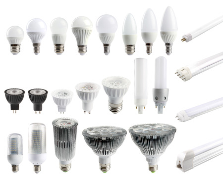 A large set of LED bulbs isolated on white background. Foto de archivo