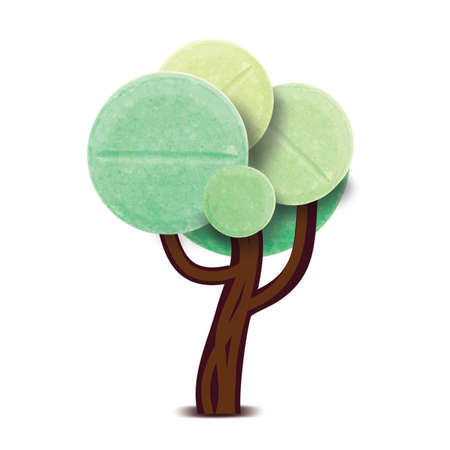 A tree with medical pills on white background, concept of Alternative medicine.