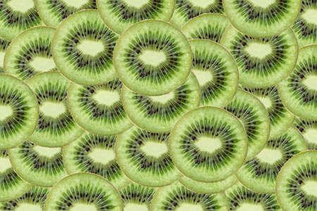 Texture background Slice of kiwi fruit green concept.
