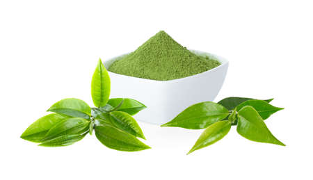 Green tea Powder with cup and green tea leaf on white background Reklamní fotografie