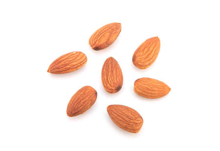 Group Almonds isolated on white background.