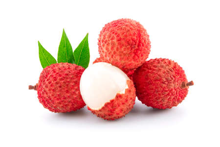 Lychee with leaves isolated on white background. 免版税图像