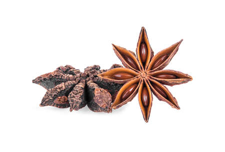 Chinese star anise spice fruits and seed isolated on white background
