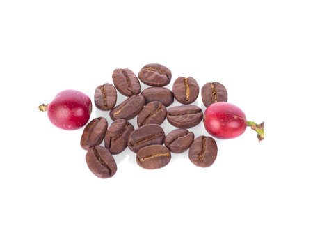 fresh roasted coffee beans with seed isolated on white background. 免版税图像