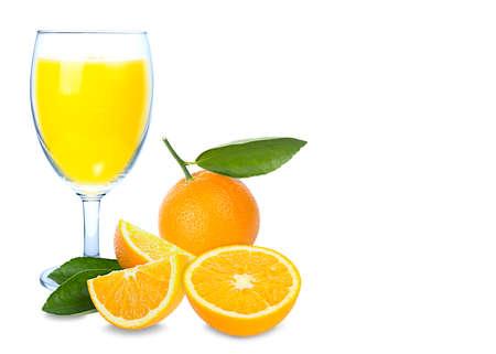 Isolated drink. Glass of orange juice and slices of orange fruit isolated on white background. 免版税图像
