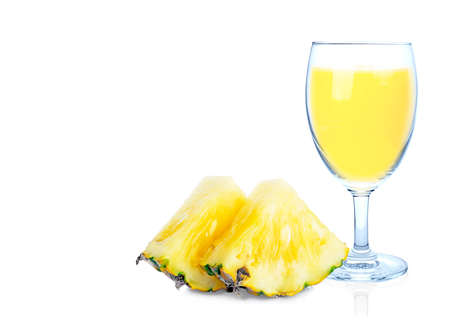 Beautiful fruit drink glass of pineapple juice and slices pineapple isolated on white background 免版税图像