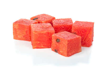 Cube of watermelon. isolated on white background