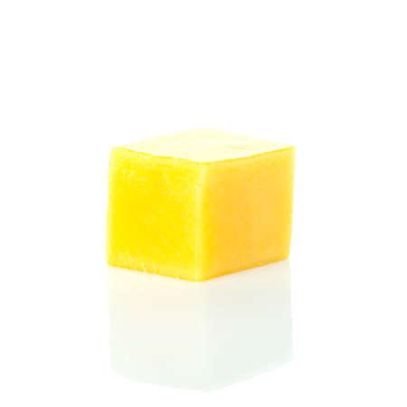 mango slice cubes isolated on white background