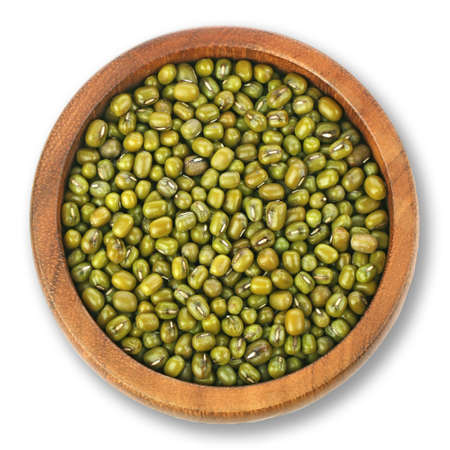 Mung Bean,green beans,wooden bowls on white background