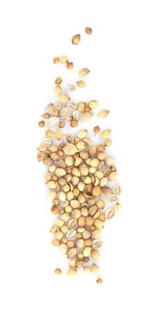Coriander seeds isolated on white background 免版税图像