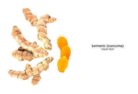 Creative layout made of turmeric (curcuma). Flat lay. Food concept. 免版税图像