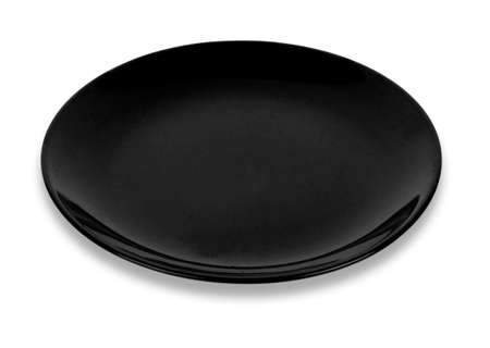Black Empty ceramic round plate isolated on white 免版税图像