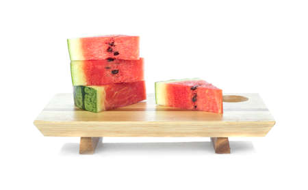 Watermelon with wood board isolated on white background 免版税图像