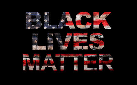 Black lives matter slogan on American flag, black background