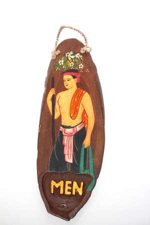 handcraft: NATURAL TEAK WOOD THAI RESTROOM SIGN PAINT ART HANDCRAFT DECORATIVE TOILET FOR MEN
