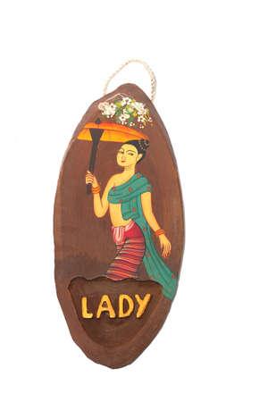 thai women: NATURAL TEAK WOOD THAI RESTROOM SIGN PAINT ART HANDCRAFT DECORATIVE TOILET WOMEN SIGN