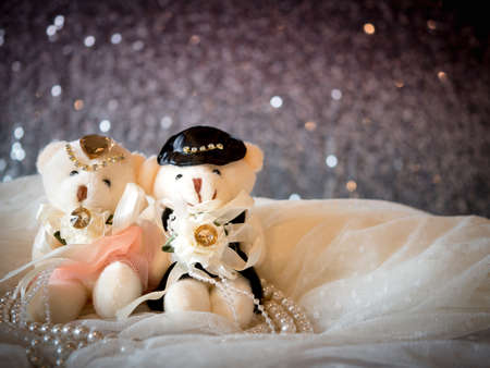 wedding concept : Couple Teddy Bears in wedding dress . Creative valentine greeting card. Stock Photo