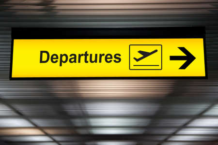 departure: Airport sign departure and arrival board Stock Photo