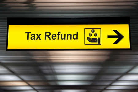 Tax refund sign at the airport