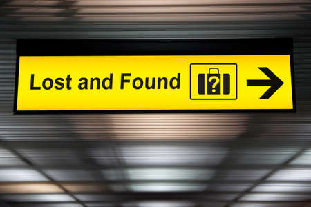 Lost and Found sign at the Airport Foto de archivo
