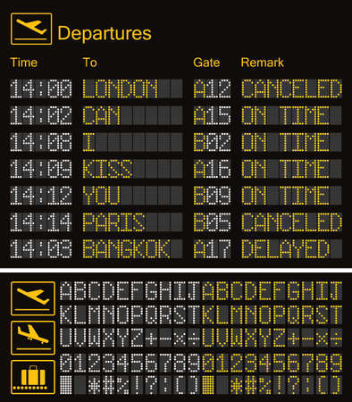 Realistic LED digital board airport template. Vector 3D yellow LED digital font with alphabet and numbers on dark background eps