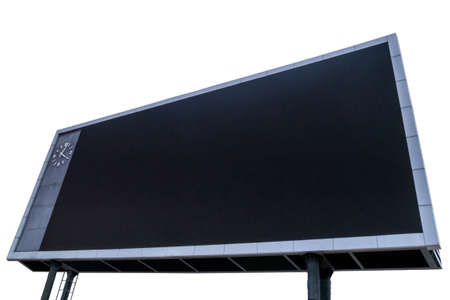 Scoreboard with black blank screen for reporting sporting events. Isolated on white background with clipping path